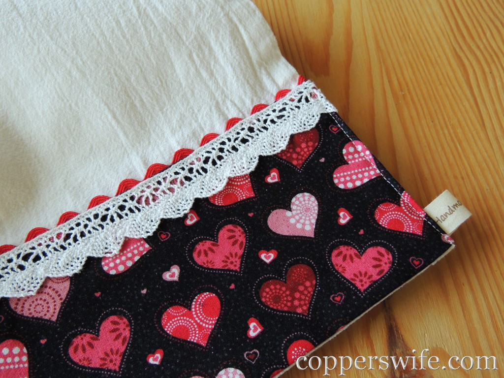 valentine dishtowel close up